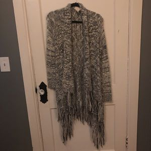 Fuzzy long open front cardigan with tassels